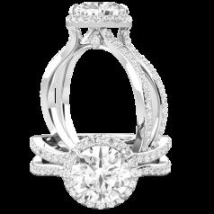 RDX888W-Inel de logodna cu Diamante Laterale Dama Aur Alb 18kt cu Briliante Rotunde,un Design Indrăzneț cu un Stil Modern Uimitor