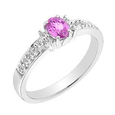 RDPS001W-Inel Dama din Aur ALb 18kt cu un Safir Roz Oval si Diamante Rotunde