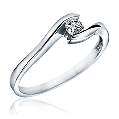 Inel de Logodna Solitaire Dama Aur Alb 14kt cu un Diamant Rotund Briliant in Setare Tensionata, Inel Twist