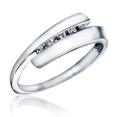 Inel de Logodna cu Mai Multe Diamante Dama Aur Alb 14kt cu 5 Briliante Rotunde, Inel Twist
