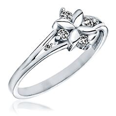 Inel cu Mai Multe Diamante Dama Aur Alb 14kt in Forma de Floare cu 6 Briliante