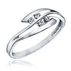 Inel de Logodna cu Mai Multe Diamante Dama Aur Alb 14kt cu 4 Briliante Rotunde in Stoc