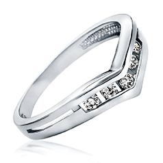 Inel de Logodna cu Mai Multe Diamante Dama Aur Alb 14kt cu 5 Diamante Rotunde Briliant