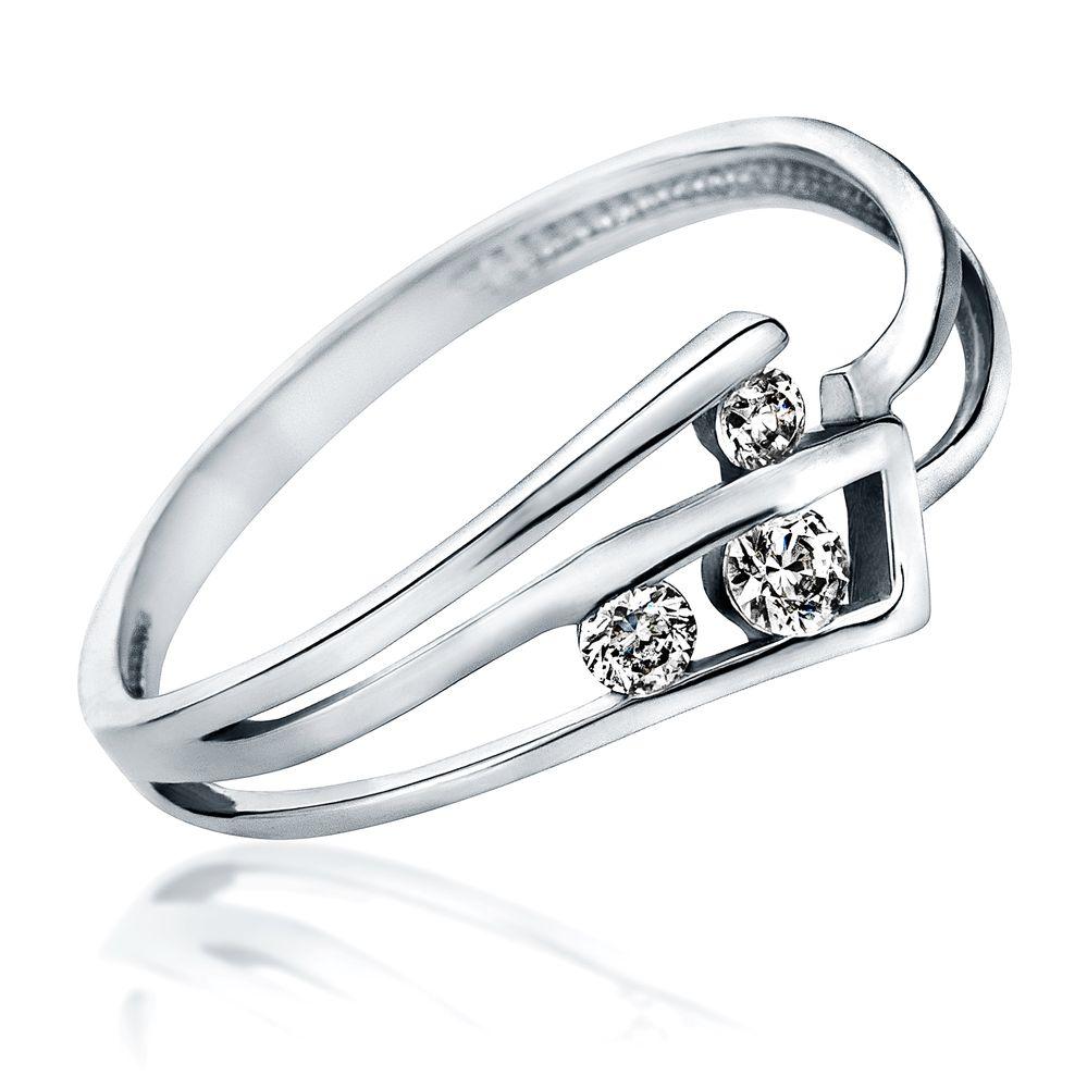 Inel de Logodna cu 3 Diamante Dama Aur Alb 14kt cu Briliante Rotunde, Model cu Decupaj