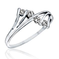 Inel Cocktail/Inel de Logodna cu Mai Multe Diamante Dama Aur Alb 14kt cu 4 Diamante Rotunde