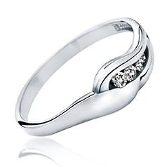 Inel de Logodna cu Mai Multe Diamante Dama Aur Alb 14kt cu 4 Diamante Rotunde Briliant
