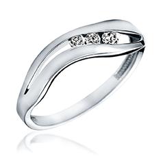 Inel de Logodna cu 3 Diamante Dama Aur Alb 14kt cu 3 Diamante Rotunde Asezate Intr-un Decupaj