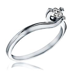 Inel de Logodna Solitaire Dama Aur Alb 14kt cu un Briliant Rotund Setat cu 3 Gheare si 3 Diamante Mici