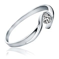 Inel de Logodna Solitaire Dama Aur Alb 14kt cu un Diamant Rotund Briliant