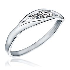 Inel de Logodna cu 3 Diamante Dama Aur Alb 14kt cu 3 Briliante Rotunde