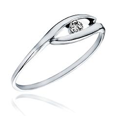 Inel de Logodna Solitaire Dama Aur Alb 14kt cu Diamant Rotund Briliant