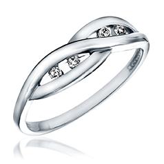 Inel de Logodna cu Mai multe Diamante Dama Aur Alb 14kt cu 4 Diamante Rotunde Briliant in Stoc