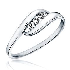 Inel de Logodna cu 3 Diamante Dama Aur Alb 14kt cu 3 Diamante Rotunde