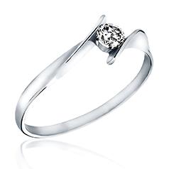 Inel de Logodna Solitaire Dama Aur Alb 14kt cu un Diamant Rotund, Inel Twist