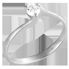 Inel de Logodna Solitaire Dama Aur Alb 14kt cu Diamant Rotund Briliant Setat cu 3 Gheare in Stoc