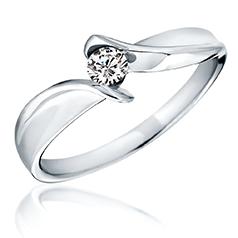 Inel de Logodna Solitaire Dama Aur Alb 14kt cu un Diamant Rotund Briliant, Inel Twist