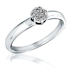 Inel de Logodna Cluster cu Mai Multe Diamante Dama Aur Alb 14kt cu 7 Briliante Rotunde in Setare Gheare
