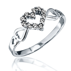 Inel cu Mai Multe Diamante Dama Aur Alb 14kt cu 12 Briliante Setate in Forma de Inima si Inimioare pe Banda