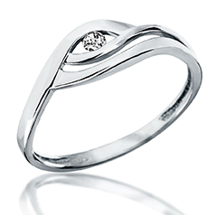 Inel de Logodna Solitaire Dama din Aur Alb 14kt cu un Diamant Rotund, Sina Despicata
