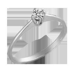 Inel de Logodna Solitaire Dama Aur Alb 14kt cu Diamant Rotund Briliant Setat cu 4 Gheare