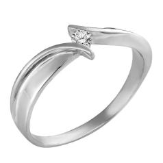 Inel de Logodna Solitaire Dama Aur Alb 14kt cu un Diamant Briliant Rotund, Stil Twist