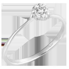 Inel de Logodna Cluster cu Mai Multe Diamante Dama Aur Alb 14kt cu 7 Briliante in Stoc