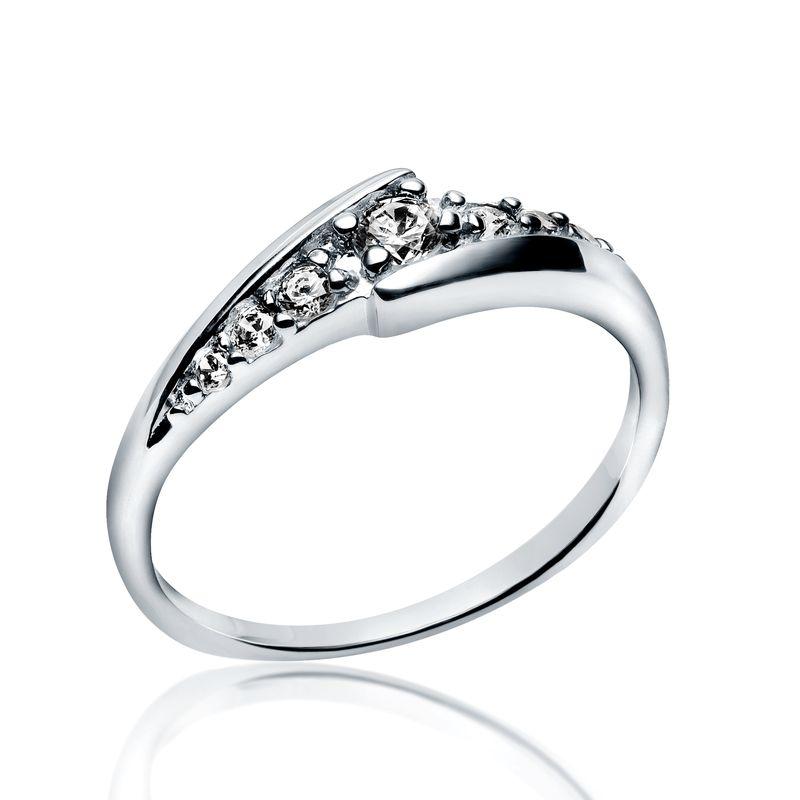 Inel cu Mai Multe Diamante Dama Aur Alb 14kt cu 7 Diamante Rotunde Briliant