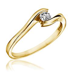 Inel de Logodna Solitaire Dama Aur Galben 14kt cu un Diamant Rotund Briliant in Setare Tensionata, Inel Twist