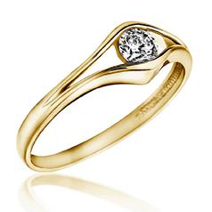 Inel de Logodna Solitaire Dama Aur Galben 14kt cu un Diamant Rotund in Setare Semi Rub-Over