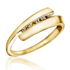 Inel de Logodna cu Mai Multe Diamante Dama Aur Galben 14kt cu 5 Briliante Rotunde, Inel Twist