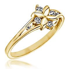 Inel cu Mai Multe Diamante Dama Aur Galben 14kt in Forma de Floare cu 6 Briliante