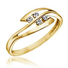 Inel de Logodna cu Mai Multe Diamante Dama Aur Galben 14kt cu 4 Briliante Rotunde
