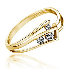 Inel de Logodna cu 3 Diamante Dama Aur Galben 14kt cu Briliante Rotunde, Model cu Decupaj