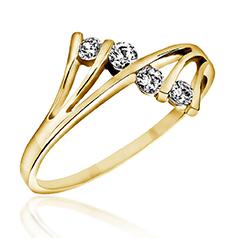 Inel Cocktail/Inel de Logodna cu Mai Multe Diamante Dama Aur Galben 14kt cu 4 Diamante Rotunde