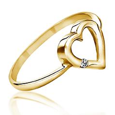 Inel Solitaire Dama Aur Galben 14kt cu un Briliant Rotund, Model Inima