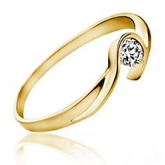 Inel de Logodna Solitaire Dama Aur Galben 14kt cu un Diamant Rotund Briliant