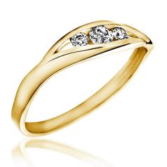 Inel de Logodna cu 3 Diamante Dama Aur Galben 14kt cu 3 Briliante Rotunde in Stoc