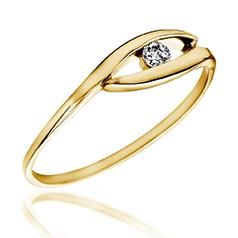 Inel de Logodna Solitaire Dama Aur Galben 14kt cu Diamant Rotund Briliant