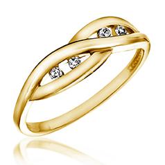 Inel de Logodna cu Mai multe Diamante Dama Aur Galben 14kt cu 4 Diamante Rotunde Briliant