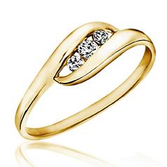 Inel de Logodna cu 3 Diamante Dama Aur Galben 14kt cu 3 Diamante Rotunde
