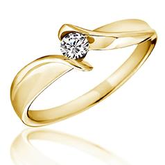 Inel de Logodna Solitaire Dama Aur Galben 14kt cu un Diamant Rotund Briliant, Inel Twist