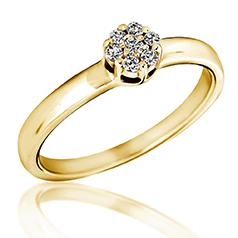 Inel de Logodna Cluster cu Mai Multe Diamante Dama Aur Galben 14kt cu 7 Briliante Rotunde in Setare Gheare