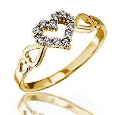 Inel cu Mai Multe Diamante Dama Aur Galben 14kt cu 12 Briliante Setate in Forma de Inima si Inimioare pe Banda