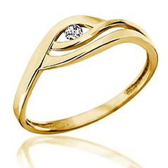 Inel de Logodna Solitaire Dama din Aur Galben 14kt cu un Diamant Rotund, Sina Despicata