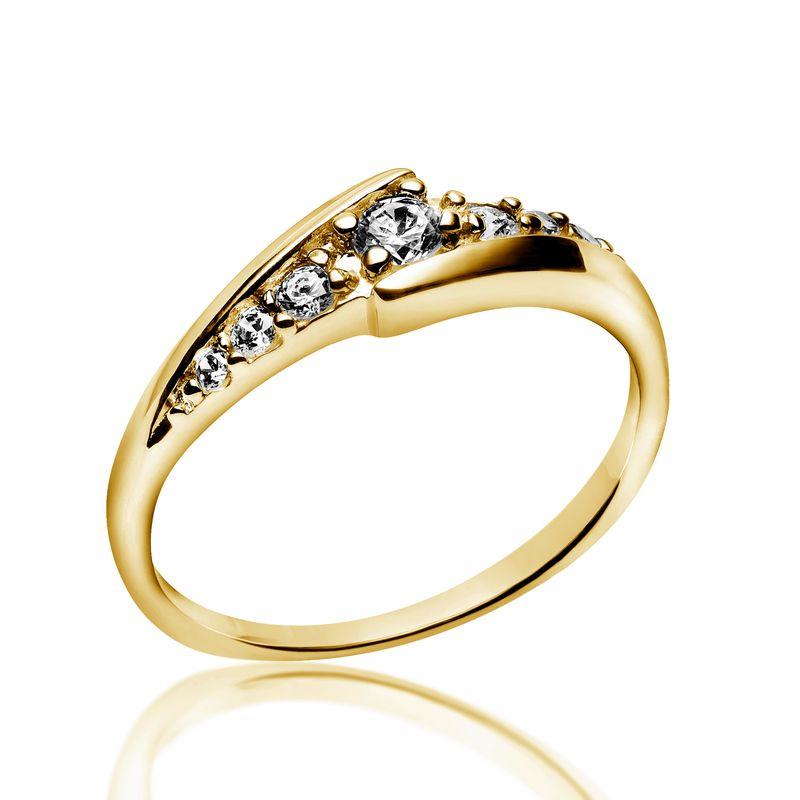 Inel cu Mai Multe Diamante Dama Aur Galben 14kt cu 7 Diamante Rotunde Briliant