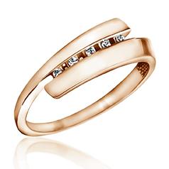 Cumpara Inel de Logodna cu Mai Multe Diamante Dama Aur Roz 14kt cu 5 Briliante Rotunde, Inel Twist pe RoyalDiamante.ro. Livrare GRATUITA!