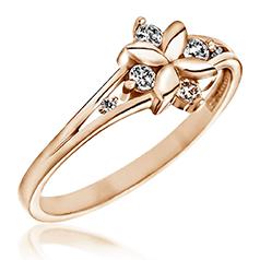 Inel cu Mai Multe Diamante Dama Aur Roz 14kt in Forma de Floare cu 6 Briliante