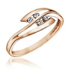 Inel de Logodna cu Mai Multe Diamante Dama Aur Roz 14kt cu 4 Briliante Rotunde in Stoc
