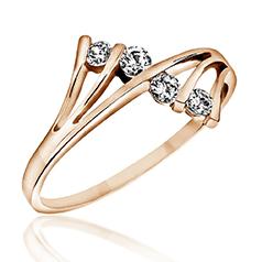 Inel Cocktail/Inel de Logodna cu Mai Multe Diamante Dama Aur Roz 14kt cu 4 Diamante Rotunde