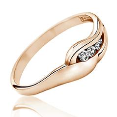 Inel de Logodna cu Mai Multe Diamante Dama Aur Roz 14kt cu 4 Diamante Rotunde Briliant